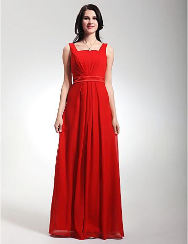 cheap Bridesmaid Dresses-Sheath / Column Straps Floor Length Chiffon / Stretch Satin Bridesmaid Dress with Draping