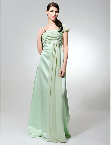 cheap Bridesmaid Dresses-Sheath / Column Square Neck Floor Length Chiffon / Satin Bridesmaid Dress with Ruched / Beading