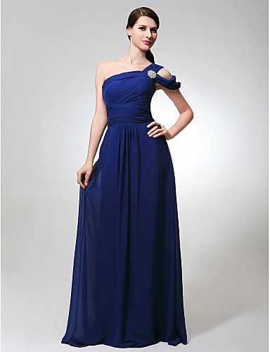 cheap Bridesmaid Dresses-A-Line One Shoulder Floor Length Chiffon Bridesmaid Dress with Side Draping / Crystal Brooch / Ruched