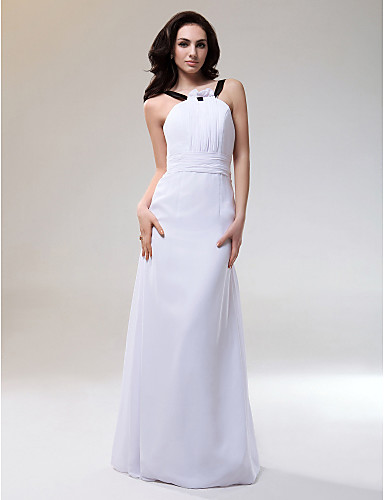 cheap Bridesmaid Dresses-Sheath / Column Straps Floor Length Chiffon / Stretch Satin Bridesmaid Dress with Ruched / Draping