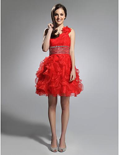 6ff957359 [$79.99] Salón Un Hombro Corta / Mini Organza Fiesta de Cóctel Vestido con  Cuentas / Volantes en Cascada por TS Couture®