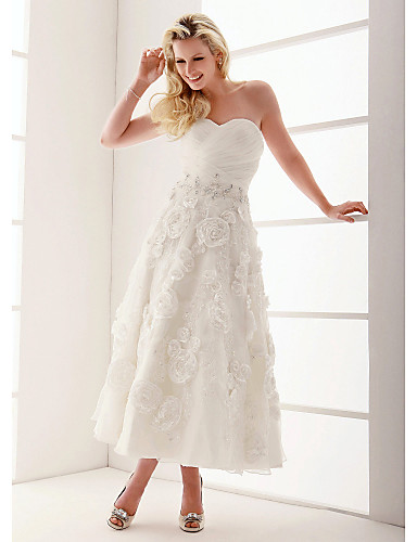 ankle length wedding dress a line princess sweetheart ankle length organza wedding 1312