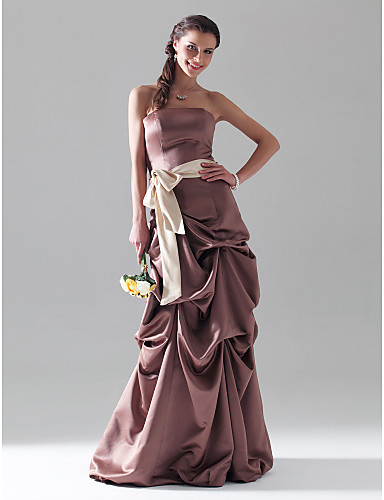 cheap Special Occasion Dresses-Ball Gown Open Back Prom Formal Evening Dress Strapless Sleeveless Floor Length Satin with Pick Up Skirt Sash / Ribbon Bow(s) 2020
