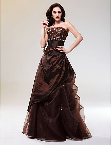 cheap Special Occasion Dresses-Ball Gown Quinceanera Prom Formal Evening Dress Strapless Sleeveless Floor Length Taffeta Tulle with Lace Pick Up Skirt Beading 2020