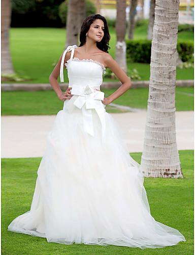 6b2c9444e40f8 انتنج العروس خط   الاميرة أحجام زائد   صغيرتي فستان الزفاف الطابق طول كتف  واحد 174748 2019 –  199.99
