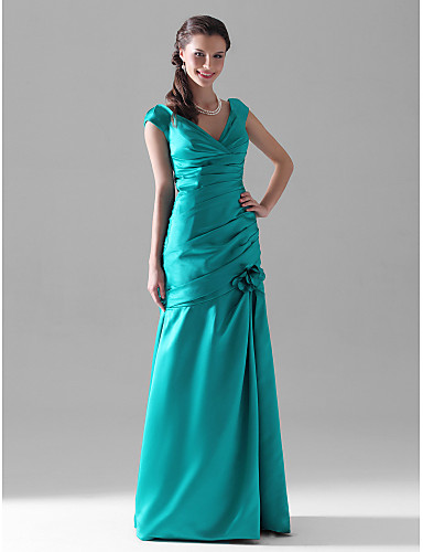cheap Bridesmaid Dresses-Mermaid / Trumpet V Neck Floor Length Satin Bridesmaid Dress with Ruched / Side Draping / Flower