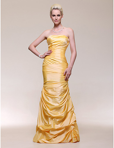 cheap Evening Dresses-Mermaid / Trumpet Celebrity Style Open Back Formal Evening Military Ball Dress Strapless Sleeveless Floor Length Taffeta with Pick Up Skirt Side Draping 2020