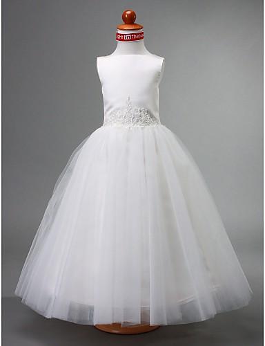 A-Line / Ball Gown / Princess Floor Length Flower Girl Dress - Satin / Tulle Sleeveless Bateau Neck Beading / Draping LAN TING BRIDE® / Spring / Summer / Fall / Winter / First Communion