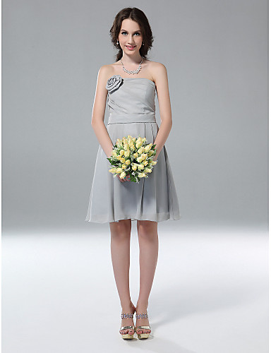 cheap Bridesmaid Dresses-Princess / A-Line Strapless Knee Length Chiffon Bridesmaid Dress with Side Draping / Flower