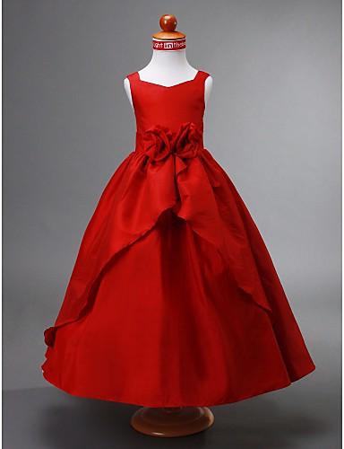 Ball Gown Ankle Length Flower Girl Dress - Taffeta Sleeveless V Neck Draping / Split Front / Flower LAN TING BRIDE® / Spring / Summer / Fall / Winter / Wedding Party