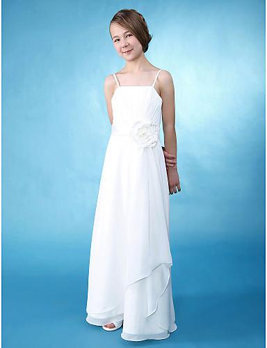 A-Line / Sheath / Column Spaghetti Strap Floor Length Chiffon / Satin Junior Bridesmaid Dress Side Draping / Flower LAN TING BRIDE® / Spring / Summer / Fall / Wedding Party / Natural