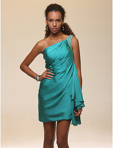 cheap Special Occasion Dresses-Back To School Sheath / Column Homecoming Cocktail Party Dress One Shoulder Sleeveless Short / Mini Satin Chiffon with Beading Side Draping 2020 Hoco Dress