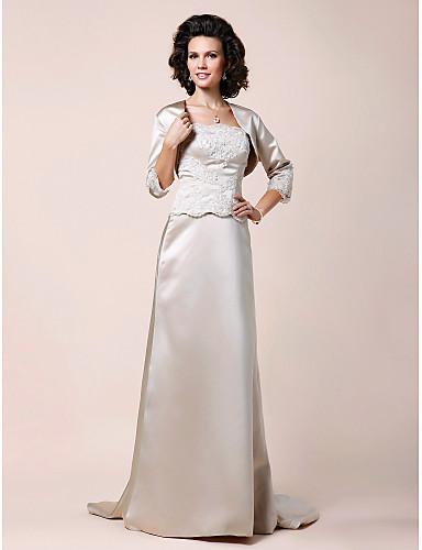 893039dd5bcc9 A-الخط بدون حمالات صدفية ذيل مثل الفرشاة ستان فستان أم العروس - زينة ثنيات  دانتيل بواسطة 188462 2019 –  64.96