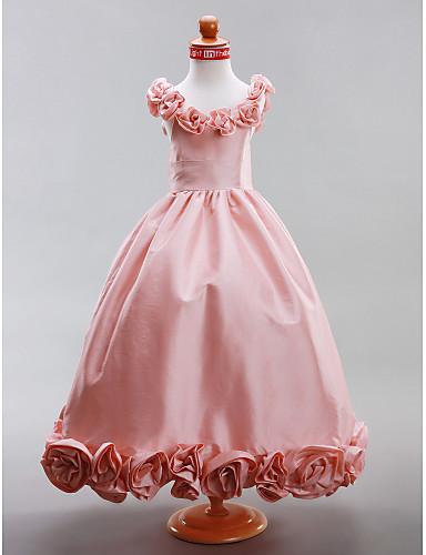 A-Line / Princess Floor Length Flower Girl Dress - Taffeta Sleeveless Scoop Neck Draping / Flower LAN TING BRIDE® / Spring / Summer / Fall / Winter / Wedding Party