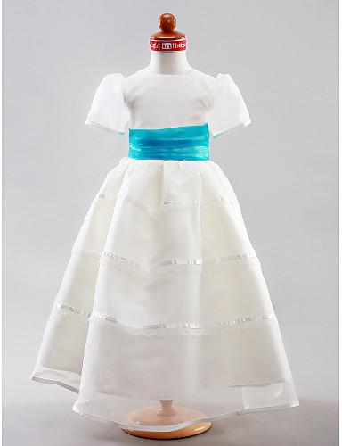 ed8fa8b459b A-Line Princess Floor Length Flower Girl Dress - Organza Satin Short  Sleeves Jewel Neck with Draping Sash   Ribbon Ruched by 240939 2019 –  99.99