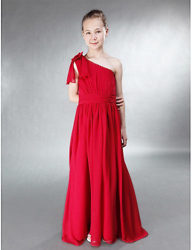 75664136179 Corte en A   Princesa Un Hombro Hasta el Suelo Raso   Satén Vestido de Dama  de honor junior con Cuentas   Lazo(s)   Recogido por   Primavera   Verano  ...