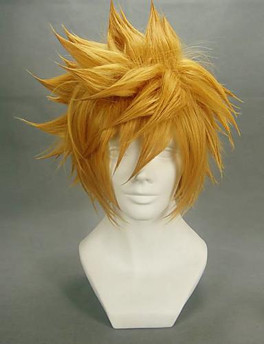 levne Cosplay paruky-Kingdom Hearts Roxas Cosplay Paruky Pánské 14 inch Horkuvzdorné vlákno Blonďatá Anime