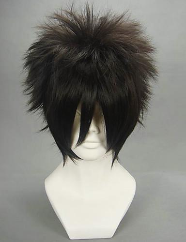povoljno Anime cosplay-Naruto Sasuke Uchiha Cosplay Wigs Muškarci 12 inch Otporna na toplinu vlakna Crn Anime