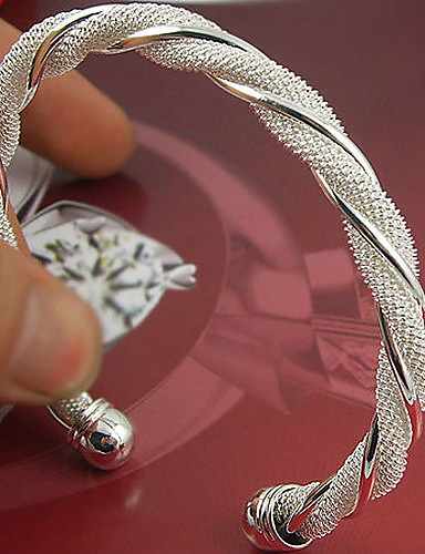 preiswerte Hochzeiten & Feste-Damen Manschetten-Armbänder damas Breiter Armreif Sterling Silber Armband Schmuck Silber Für Hochzeit Party Besondere Anlässe Jahrestag Geburtstag Verlobung / Geschenk