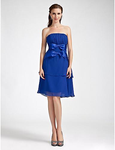 b97556935f0a θήκη   στήλη στράπλες γόνατο-μήκους σιφόν ελαστικό υφαντό φόρεμα παράνυμφων  σατέν 188911 2019 –  99.99