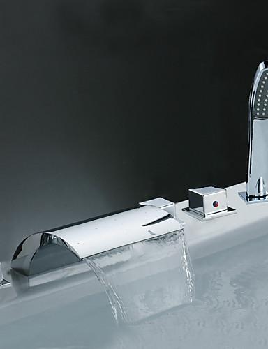 preiswerte Romanische Wanne-Badewannenarmaturen - Moderne Chrom Romanische Wanne Keramisches Ventil Bath Shower Mixer Taps / Messing
