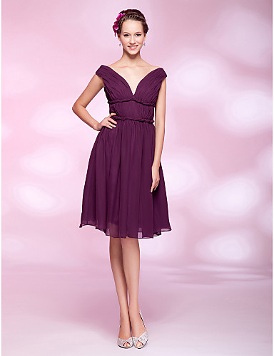 cheap Bridesmaid Dresses-Back To School Ball Gown Homecoming Cocktail Party Wedding Party Dress Off Shoulder V Neck Sleeveless Knee Length Chiffon with Draping Side Draping 2020 Hoco Dress