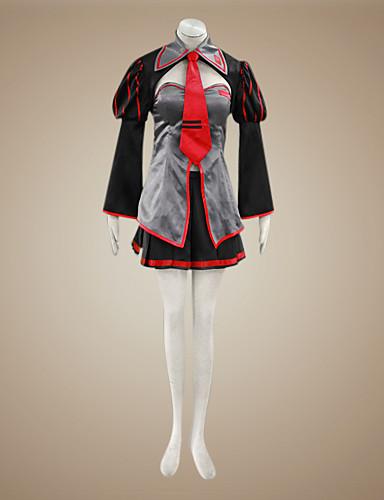 povoljno Maske i kostimi-Inspirirana Vocaloid Zatsune Miku Video igra Cosplay nošnje Cosplay Suits / Dresses Kolaž Dugih rukava Kaput Suknja Glava Kostimi / Saten