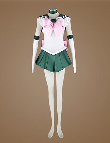 povoljno Maske i kostimi-Inspirirana Sailor Moon Sailor Jupiter Anime Cosplay nošnje Japanski Cosplay Suits Kolaž Bez rukávů Kravata / Haljina / Rukavice Za Žene / Saten