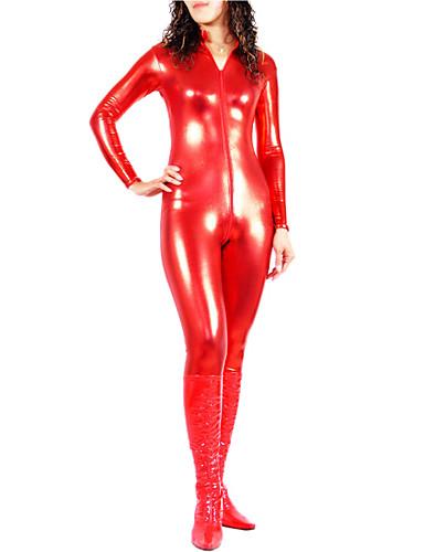 billige Zentai-Skinnende Zentai Drakter Catsuit Ninja Cosplay-kostymer Grønn / Gylden / Sølv Ensfarget Spandex Dame Jul Halloween / Høy Elastisitet