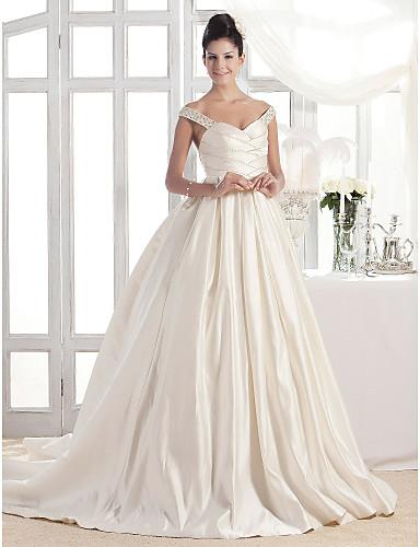 A-vonalú Hercegnő Udvari uszály Szatén Esküvői ruha val vel Gyöngydíszítés  Cakkos Ráncolt által LAN TING BRIDE® 180736 2019 –  149.99 275eb61d30