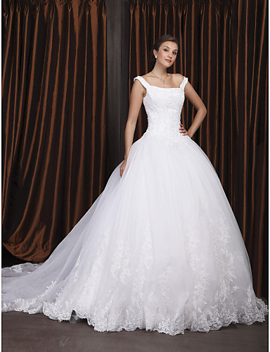 cheap Wedding Dresses-Ball Gown Square Neck Chapel Train Organza / Floral Lace Regular Straps Glamorous Plus Size Wedding Dresses with Beading / Appliques 2020