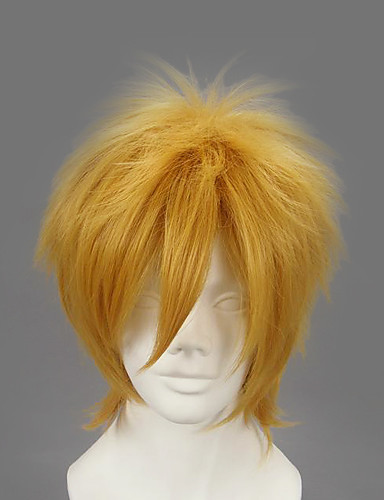 povoljno Maske i kostimi-Naruto Minato Namikaze Cosplay Wigs Muškarci 12 inch Otporna na toplinu vlakna Plavuša Zlatan Anime