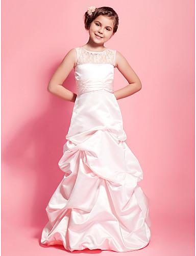 A-Line / Princess Scoop Neck Floor Length Lace / Satin Junior Bridesmaid Dress Lace / Pick Skirt / Sash / Ribbon LAN TING BRIDE® / Spring / Fall / Winter / Wedding Party / Natural