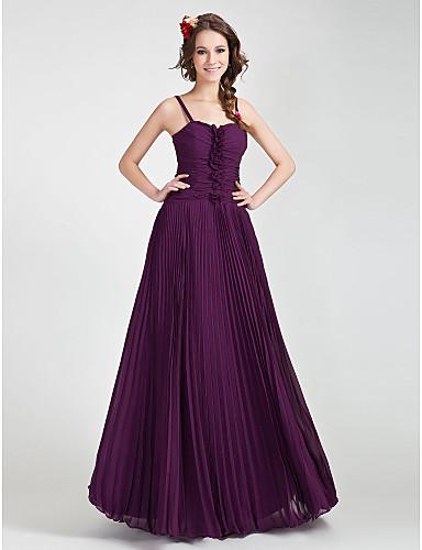 e054e3cff Corte en A Princesa Tirantes Spaghetti Escote Corazón Hasta el Suelo Raso  Vestido de Dama de Honor con Plisado Fruncido Volantes por 205846 2019 –   99.99