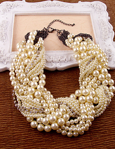 cheap Trendy Jewelry-Women's Pearl Necklace Pear Cut Imitation Pearl Ivory 35-45 cm Necklace Jewelry 1pc For Party Anniversary Gift