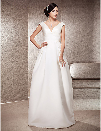 cheap Wedding Dresses Under $200-A-Line V Neck Floor Length Satin Made-To-Measure Wedding Dresses with Draping by LAN TING BRIDE®