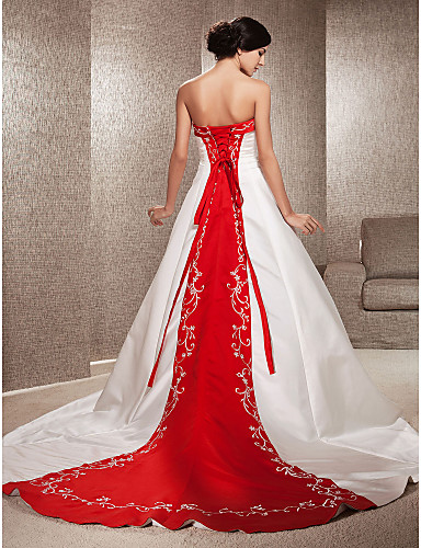 cheap Wedding Dresses Under $200-Ball Gown Strapless Cathedral Train Satin Made-To-Measure Wedding Dresses with Appliques / Embroidery by LAN TING BRIDE® / Wedding Dress in Color