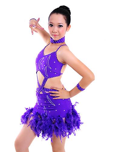 50ba6c7c41f8e spandex viola donna con vestito da ballo latino prestazioni paillettes del  257437 2019 a  125.99
