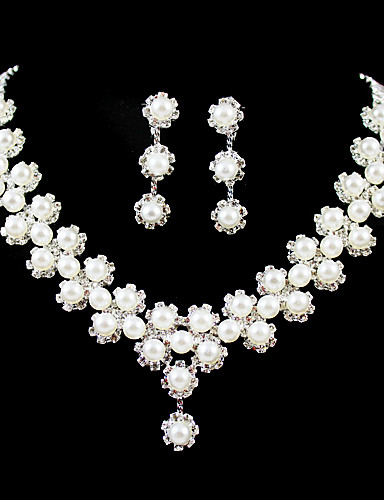 preiswerte Schmuck Ausverkauf-Damen Klar Schmuckset Künstliche Perle Silber Ohrringe Schmuck Für Hochzeit Party Geburtstag Verlobung Geschenk / Halsketten