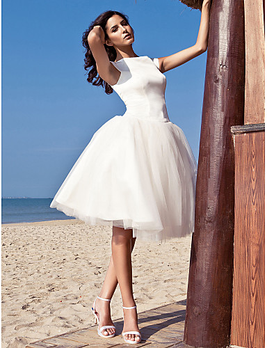 cheap Wedding Dresses Under $200-Ball Gown Bateau Neck Knee Length Satin / Tulle Made-To-Measure Wedding Dresses with Draping by LAN TING BRIDE® / Beach / Destination / Little White Dress / Little White Dress