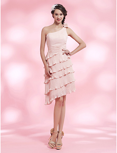 454314b793 Sheath   Column One Shoulder Knee Length Asymmetrical Chiffon Cocktail  Party Homecoming Dress with Draping Pleats Flower Ruched by 188959 2019 –   129.99