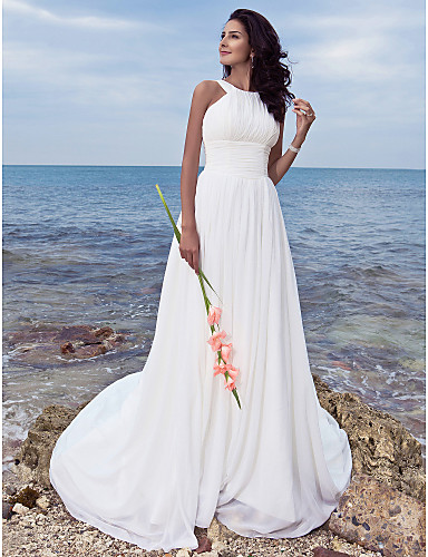 cheap Wedding Dresses-A-Line Jewel Neck Sweep / Brush Train Chiffon Regular Straps Formal / Beach Plus Size Wedding Dresses with Ruched / Draping 2020
