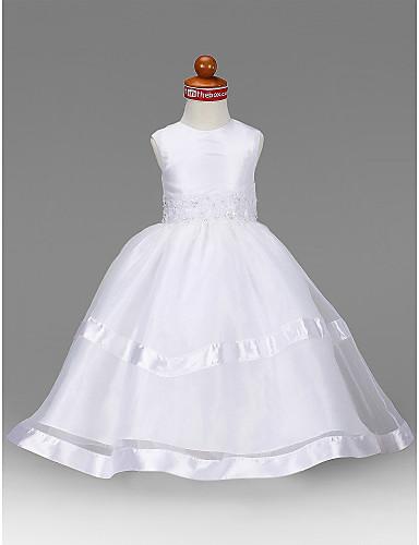 preiswerte Luxus Kollektion-A-Linie / Prinzessin Boden-Länge Blumenmädchenkleid - Organza / Taft Ärmellos Schmuck mit Perlenstickerei / Applikationen / Drapiert durch LAN TING BRIDE®