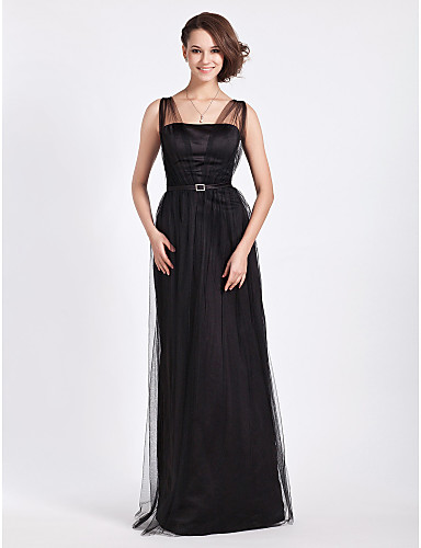 cheap Bridesmaid Dresses-Sheath / Column Straps Floor Length Tulle Bridesmaid Dress with Sash / Ribbon / Crystals / Draping