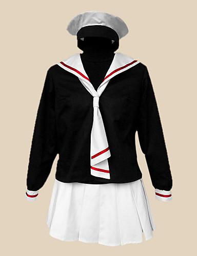 povoljno Anime cosplay-Inspirirana Cardcaptor Sakura Tomoyo Daidouji Anime Cosplay nošnje Japanski Cosplay Suits / School Uniforms Kolaž Dugih rukava Kravata / Suknja / T-majica Za Žene / Šešir