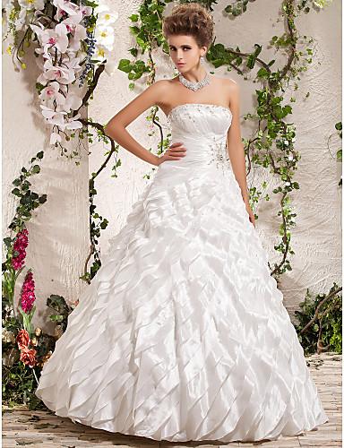 cheap Wedding Dresses-Ball Gown Wedding Dresses Strapless Floor Length Taffeta Sleeveless with Beading Cascading Ruffle Criss-Cross 2020