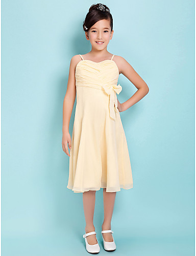 ALine Spaghetti Straps Sweetheart Knee Length Chiffon Junior