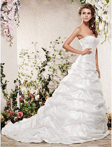 cheap Wedding Dresses-Princess A-Line Wedding Dresses Strapless Sweetheart Neckline Chapel Train Taffeta Sleeveless with 2020