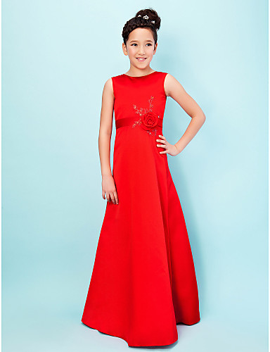 beadb9ca61 A-Line   Princess Jewel Neck Floor Length Satin Junior Bridesmaid Dress  with Beading