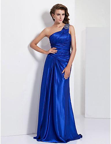 cheap Evening Dresses-Sheath / Column Elegant Prom Formal Evening Military Ball Dress One Shoulder Sleeveless Floor Length Charmeuse with Criss Cross Beading Side Draping 2020